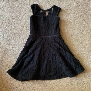 Black lace girls skater dress